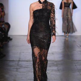 Black sequinned feather cheongsam dress