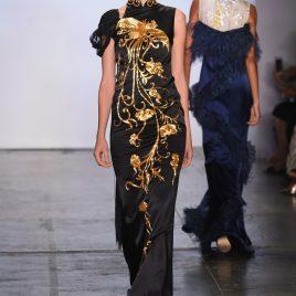 Golden embroidery phoenix cheongsam