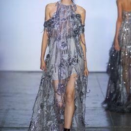 Gray drop shoulder sequined lace dress