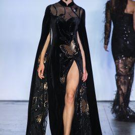 Black butterfly sequin dress