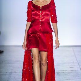 Big red sequin suit dress